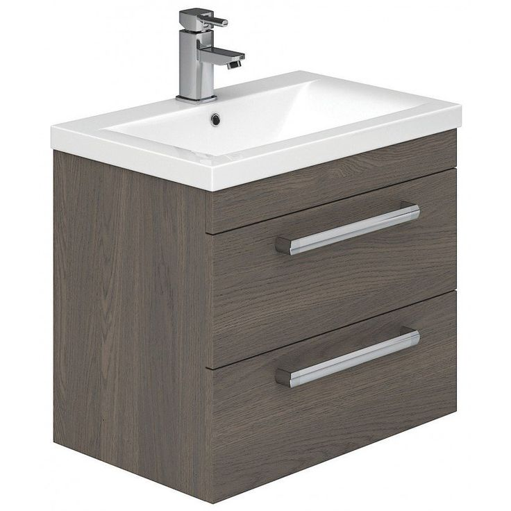 Nante Wall Mounted Two Drawer Vanity Unit Dark Elm W 515 x H 500 x D 390…