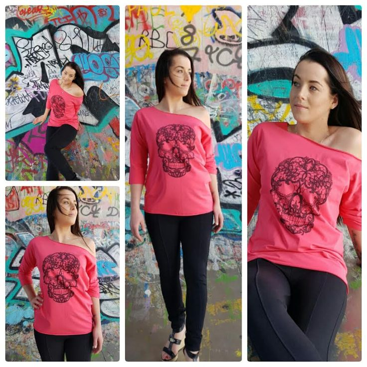 Asymmetrische roze blouse met skull – Amsterdam Tattooing