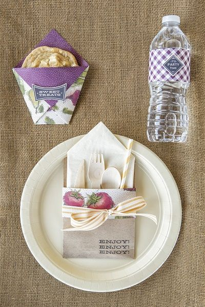 Stampin' Up! place setting and party ideas shared by Sara Douglass on Good Things Utah. All About Sugar stamp set, Farmers Market DSP #stampinup #summerparty