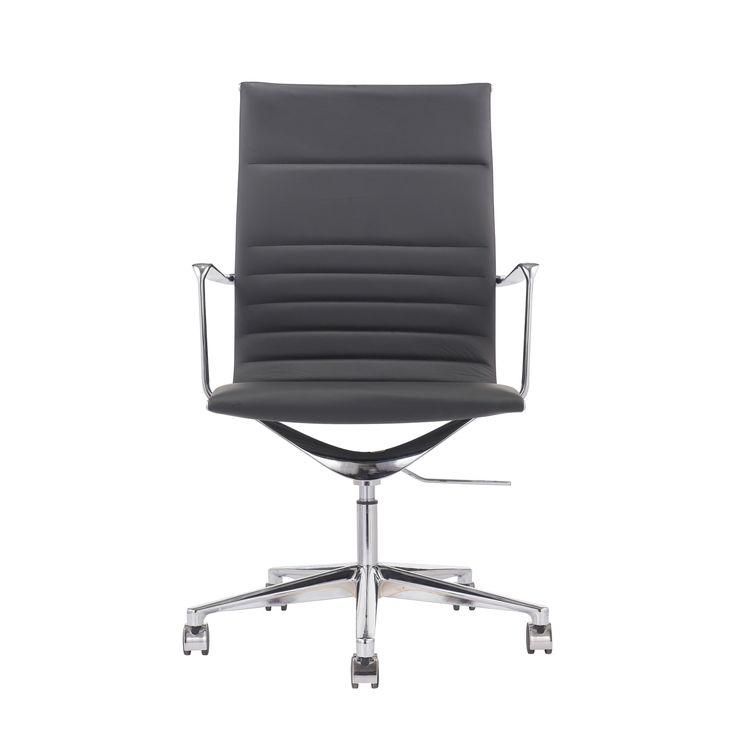 Bürostuhl 9040 Alu Echtleder schwarz
