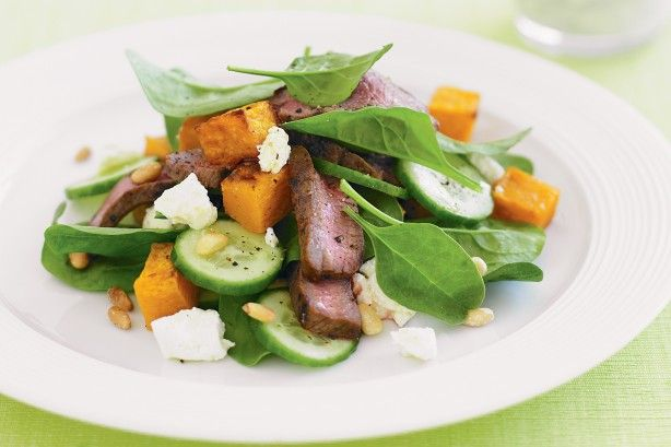 We love the melt-in-your-mouth soft feta and pumpkin pieces in this lamb recipe.