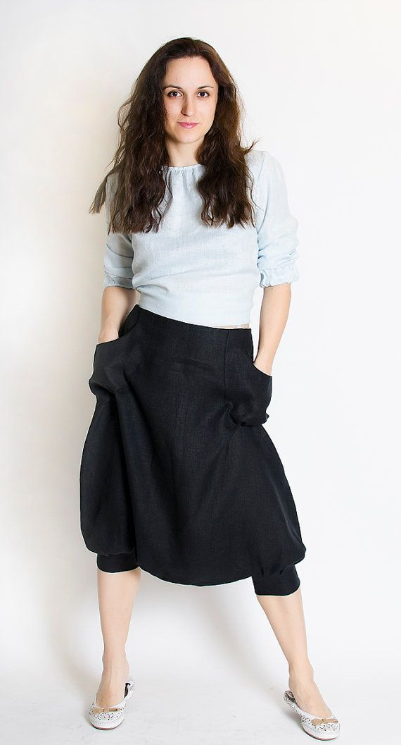 Woman Black Brown Natural color Linen Culottes Skirt by FancyFlax, $75.00