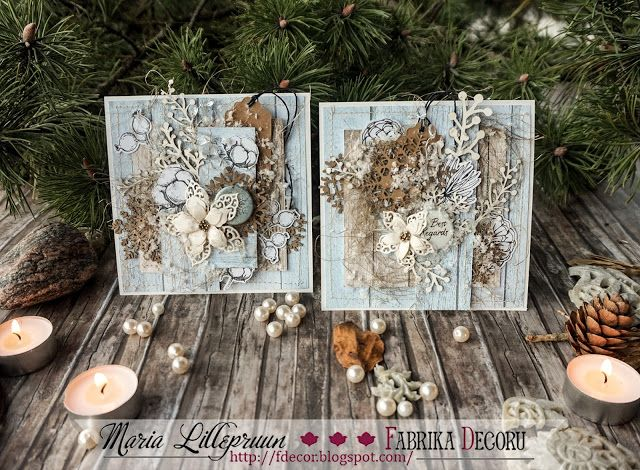 Snowy rustic handmade cards by Maria Lillepruun
