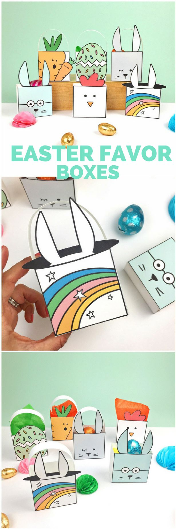 Cute Free Printable Easter Favor Boxes (6 designs, bunnies, chick, carrot, egg) with blank templates for coloring in options You can also use these as Easter Cards!