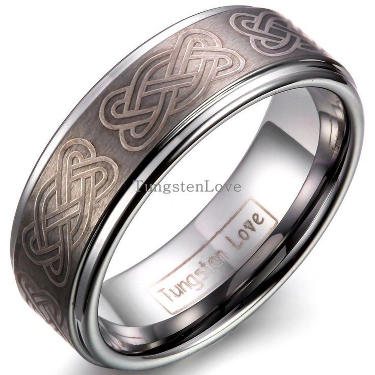 8 мм Vitage Карбида Вольфрама Обручальное кольцо Кольца С Гравировкой Готический Узел Мужчины Уникальные Обручальные Кольца Для Рождественских Подарков
