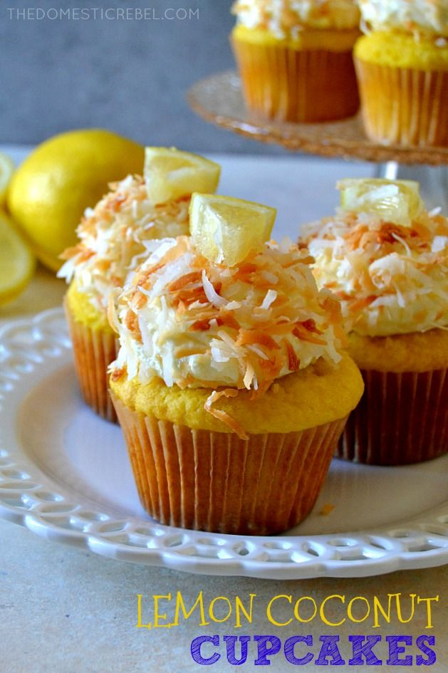These Lemon Coconut Cupcakes are some of the BEST cupcakes I've EVER had! Buttery, zesty lemon cakes are topped with a to-die for creamy & light coconut whipped frosting and toasted coconut. Easy, perfect for spring, and so fabulous!