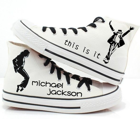 Michael Jackson custom shoes High-top Painted Canvas Shoes,High-top Painted Canvas Shoes