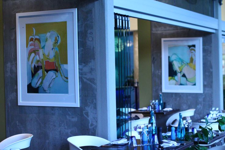 Contemporary artworks in the restaurant