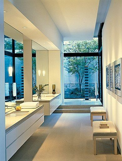 Love the sleek modern sinks [ Sliding-doors-hardware.com ] #bathroom #hardware #slidingdoor