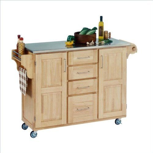 Home Styles 9100-1012 Create-a-Cart 9100 Series Cuisine Cart with Stainless Steel Top, Natural, 52-1/2-Inch by Home Styles. $454.31. Measures 48-inch width by 17-3/4-inch depth by 35-1/2-inch height. Made of solid wood, natural asian hardwood with stainless steel top and utility drawer. Available in natural finish. This home styles 9001 series cuisine kitchen cart is a unique and refreshing solution for kitchen utility. This cart is having four utility drawers and two cabinet...