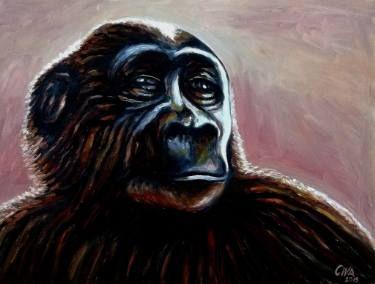 "Saatchi Art Artist Dan Civa; Painting, ""Chimpanzee portrait (chimp 7)"" #art"