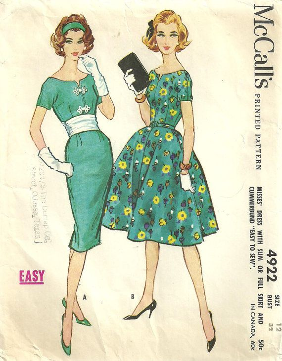 McCalls 4922 / / Vintage 50er Jahre nähen von studioGpatterns