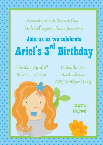 Mermaid Personalized Invitation with Coordinating Items Available