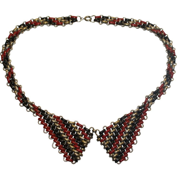 Jakob Bengel Red Enamel Chrome Necklace