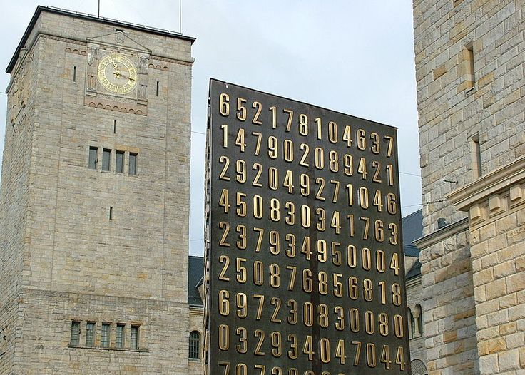 Poznań monument (center) to Polish cryptologists whose breaking of Germany's Enigma machine ciphers