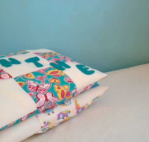 Cushion personalised in turquoise butterfly fabric by Kirstyflo, €20.00