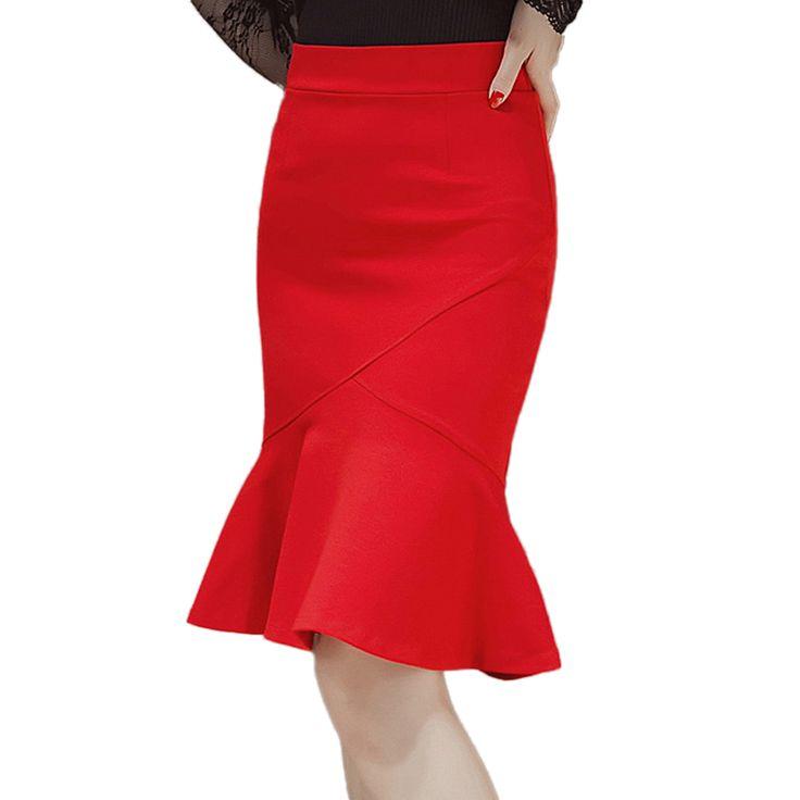 2017 New Fashion women's sexy fish tail package hip step skirts female  plus size elegant slim ruffles OL style midi skirt