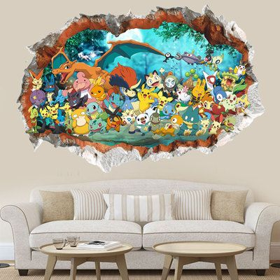 Children Bedroom Cartoon  Pokemon waterproof Mural Wallpaper  Wall stickers Boy Birthday  Gift *** Check out the image by visiting the link.