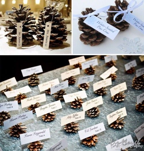 Name-card table with larger pinecone showing table number