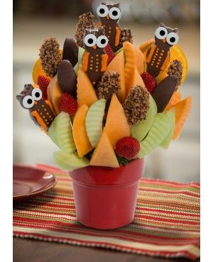 I Give a Hoot Blossom scent free fruit bouquet are great for all occasions and make great gifts ideas or decorations from a proud Canadian Company. Great alternative to traditional flowers or fruit baskets