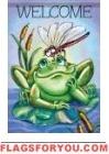 Frog Welcome Garden Flag