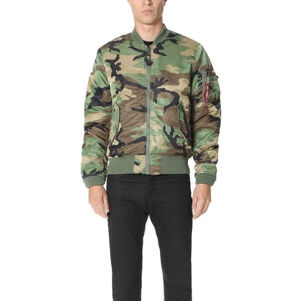 Alpha Industries MA-1 Slim Fit Jacket ($105) ❤ liked on Polyvore featuring men's fashion, men's clothing, men's outerwear, men's jackets, woodland camo, mens camo bomber jacket, mens camouflage bomber jacket, mens slim fit jackets, mens padded jacket and mens padded bomber jacket