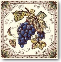 Grapes Victorian Fruits Designs on Ceramic Tiles