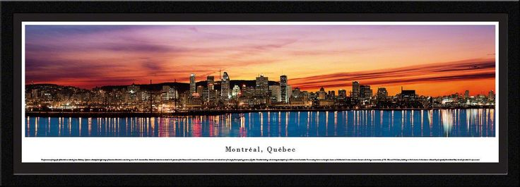 Montreal Skyline Panoramic Picture Framed, Quebec Canada