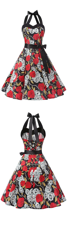 fashion vintage style dress,50s dress,halter dress,vintage dress,retro dress