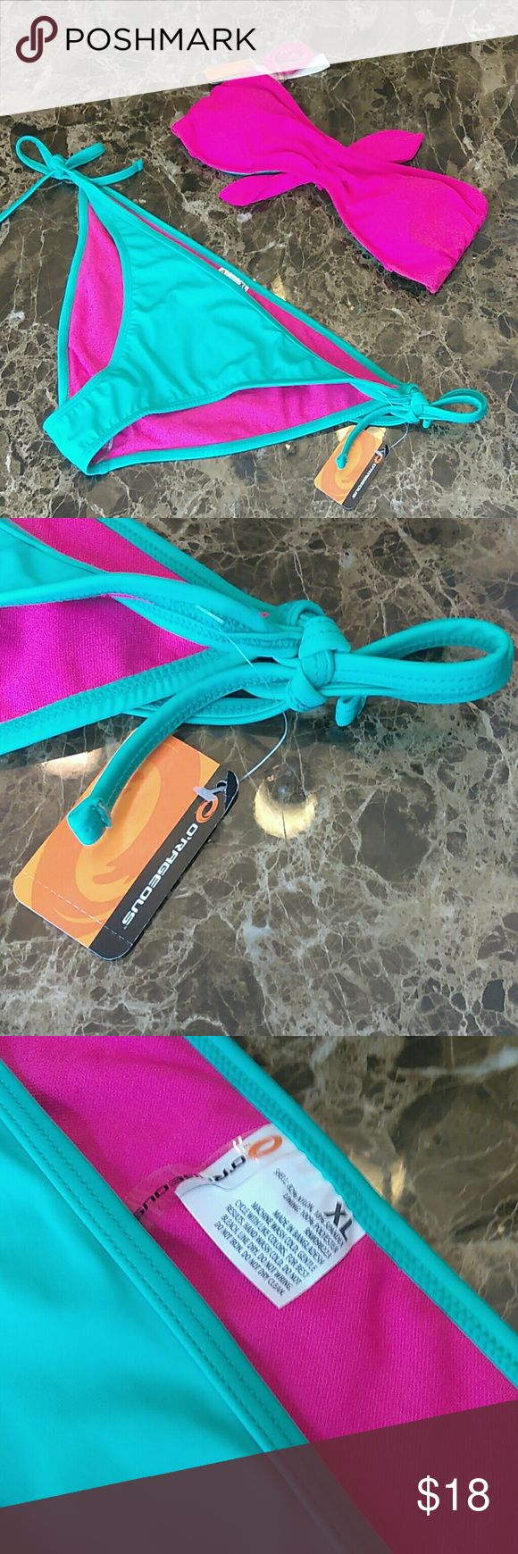 NWT Orageous 2 piece Pink & Mint bikini size XL NWT Orageous 2 piece Pink & Mint bikini size XL. Extra comfortable and stylish set. Stays very fresh and dry. Ready for summer days at the pool or beach. O'rageous Swim Bikinis
