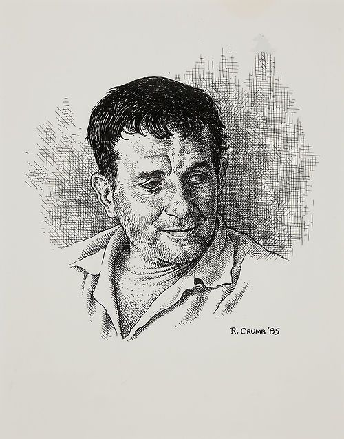 thebristolboard:  Original portrait of Jack Kerouac by Robert Crumb from Meet the Beats, published by Water Row Press, 1985.