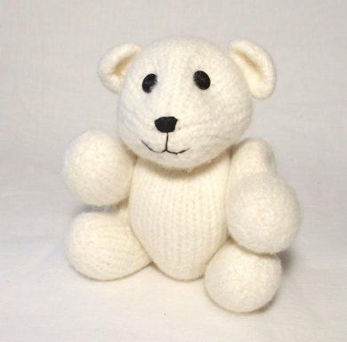A cuddly felt winter companion, this cute polar bear has moving jointed limbs and cute button eyes it is so quick to knit using large size needles and pure wool, then magically transformed into thick soft felt by a ride in your washing machine!