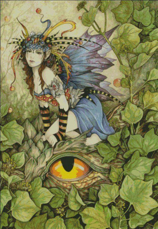 Beautiful Dragon Fairy on the Dragon Eye