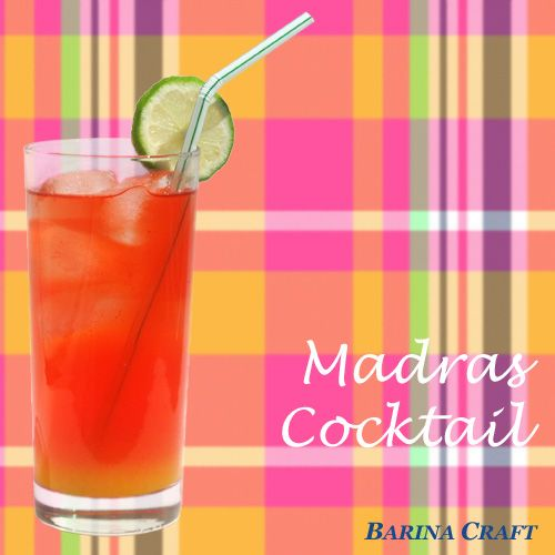 The MADRAS cocktail is a vodka, cranberry juice and orange juice drink garnished with lime that can (and should) be layered to match the plaid Indian fabric pattern it is named after. Get the recipe & history of this great summer sip with a preppy past at http://homebars.barinacraft.com/post/87535790963/madras-cocktail-drink-recipe