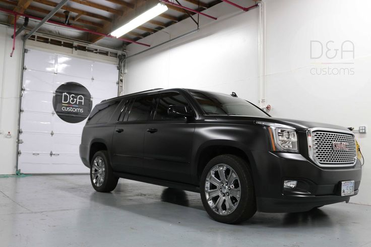 Another to our collection. Full wrap on brand new GMC Denali in Satin Black (Avery Dennison) with full de-chroming in Satin/ Gloss Black (Avery Dennison)  @dacustoms_wraps (425) 633-6288