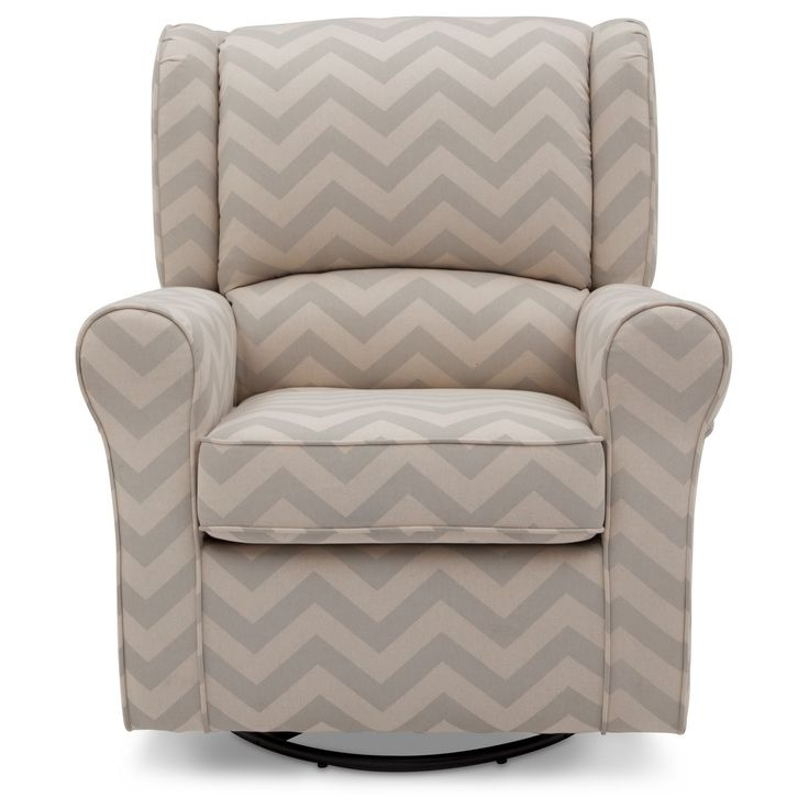 Delta Children Morgan Chevron Nursery Glider Swivel Rocker Chair – Gray