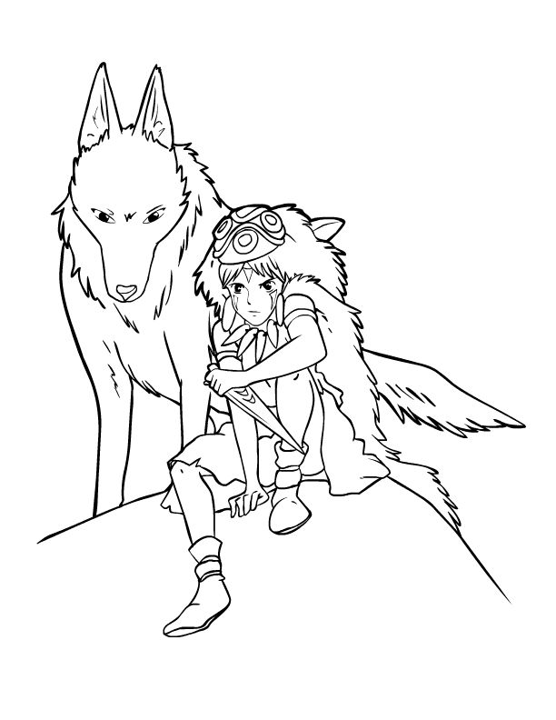 Tattoo Line Drawing Books : Princess mononoke coloring pages for kids pinterest