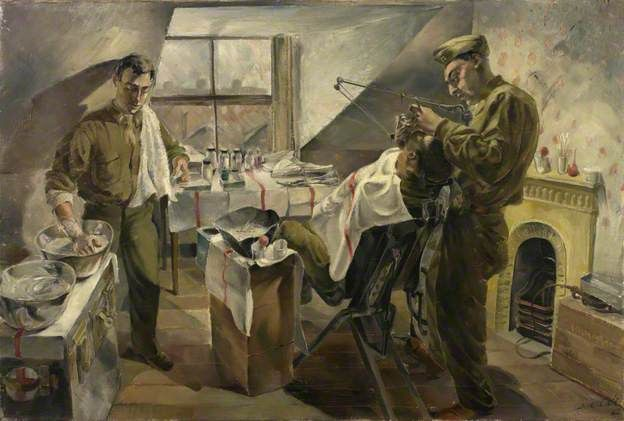 16th US Medical Regiment: Field Dental Service Operating during an Attack by Leslie Cole    Date painted: 1942  Collection: IWM (Imperial War Museums
