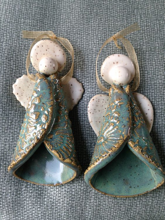 Pottery Angel Ornaments By Karen Lucid Christmas Pinterest Pottery Ceramics And Pottery Angels