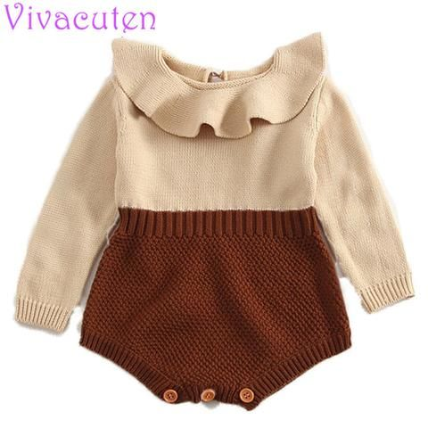 301a18e1acea6 Newbron baby rompers princess girls knitted jumpsuits toddler girls ...
