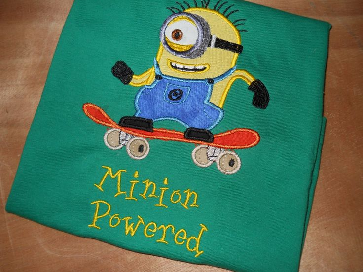 Minion Powered custom embroidered shirt, Minion Shirt by Byrdhouse7 on Etsy