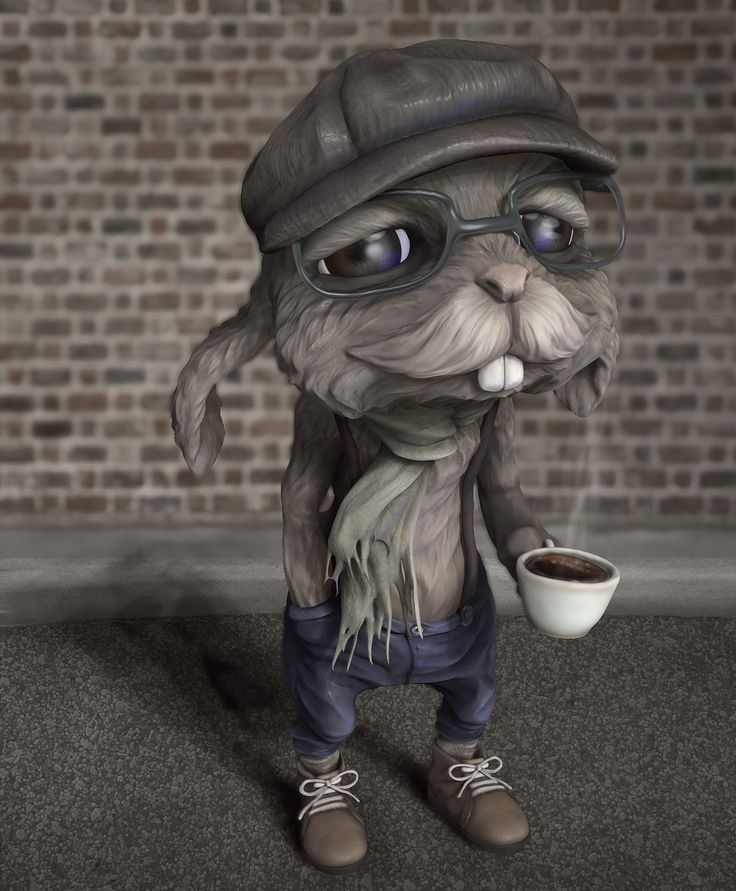 Hipster  Bunny, Swasti DW on ArtStation at https://www.artstation.com/artwork/WgQlQ
