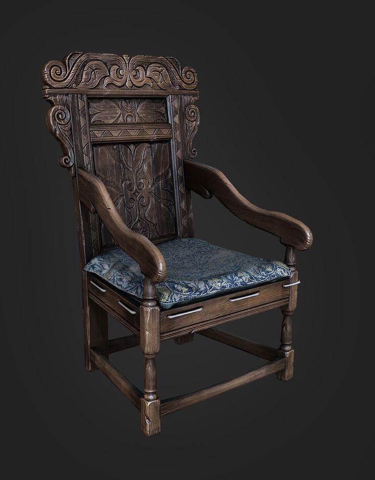 Medieval chair, Leonid Kuzyakin on ArtStation at https://www.artstation.com/artwork/medieval-chair