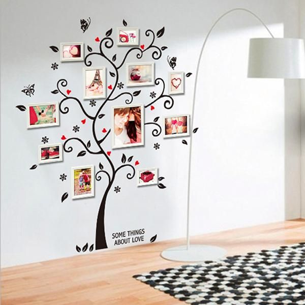 Chic Black Family Photo Frame Tree Butterfly Flower Heart Mural Wall S