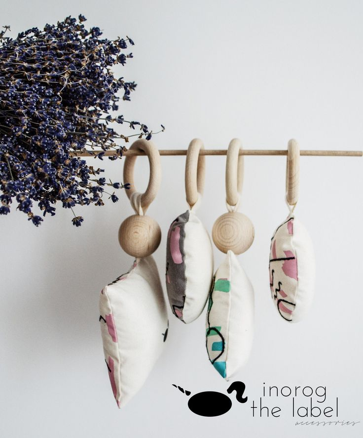 Inorog The Label Accessories Baby Gym Teether - organic cotton, eco ink screen print & cotton embroidery, natural wood - original design
