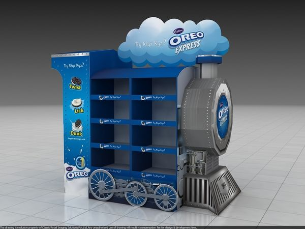 Oreo Train Display by naishadh jhaveri, via Behance Amalia; original PLV de Oreo, se trata de un trenecito que en el encontraras las oreo