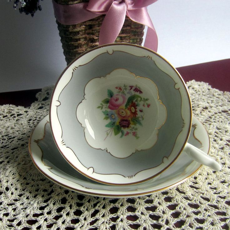 Free Shipping Coalport 9926/0 Wide Mouth with Grey Panels Bone China Tea Cup and Saucer - Made in England by LauriesFineChina on Etsy
