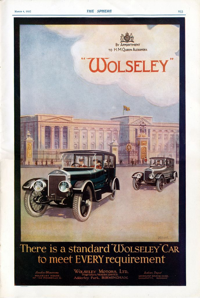Wolseley Luxury Cars Ad Set In Front Of Buckingham Palace 1922