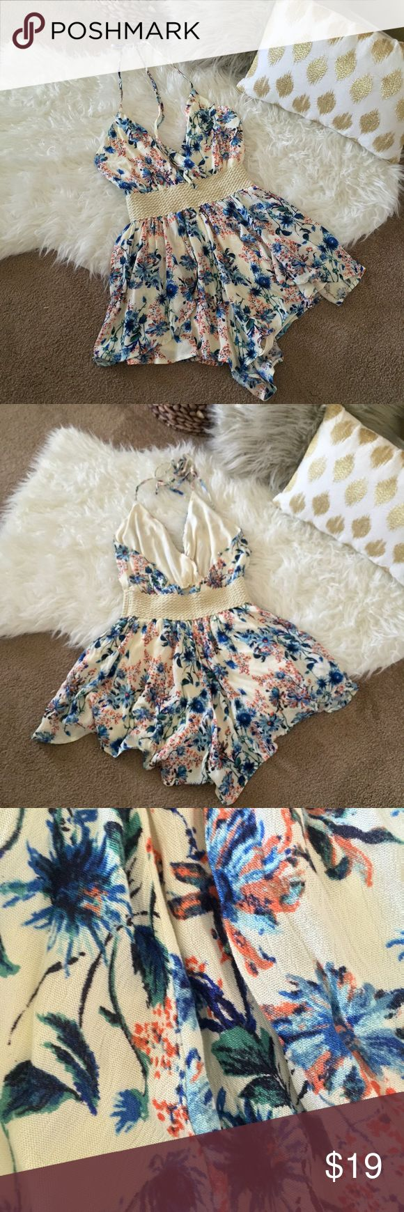 Trac Halter Romper A flowy, floral halter romper // Extra long ties allow for neckline to be adjusted // Never worn, new with tags // Can fit S/M Other