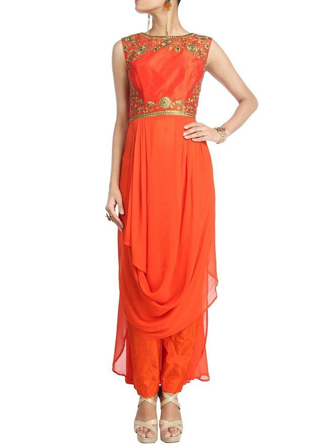 IndusDiva Women's Orange Pure Georgette Dhoti Style Kameez and Pencil Pants